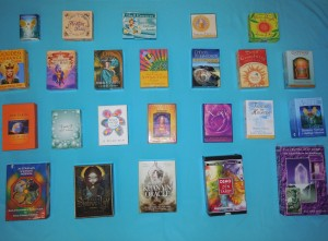 Display of Oracle, Angel and Tarot card reading decks