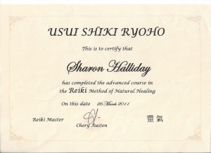 Usui Shiki Ryoho Certificate in the advanced course in Reiki Method of Natural Healing