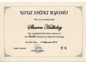 Usui Shiki Ryoho Certificate in the basic course in Reiki Method of Natural Healing