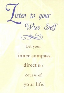 "The ""listening"" card from Cheryl Richardson's Self-Care deck was drawn to answer a reader's question by encouraging them to listen to their wise inner voice."