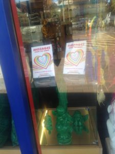 Messages from the Heart book in window display of local healing centre.